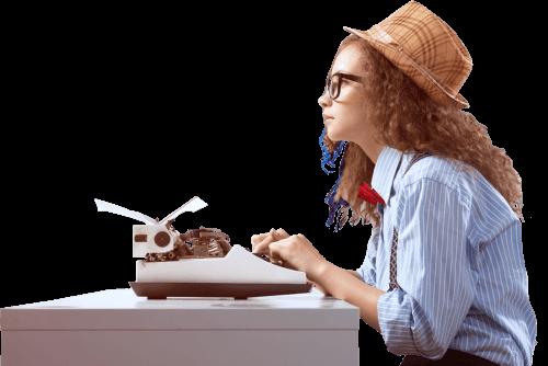woman using typerwriter